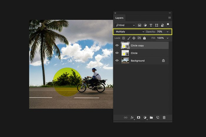 A screenshot of using the Photoshop layers panel - duplicate layers