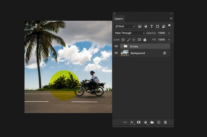 A screenshot of using the Photoshop layers panel - group layers