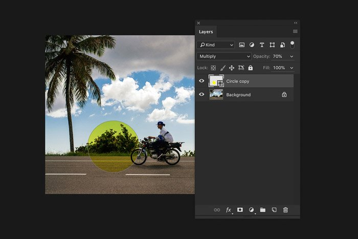 A screenshot of using the Photoshop layers panel
