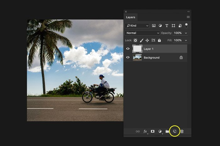 A screenshot showing how to add a layer in Photoshop - create a new layer
