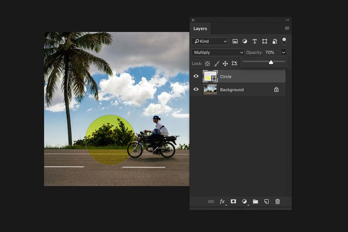 A screenshot of using the Photoshop layers panel - opacity