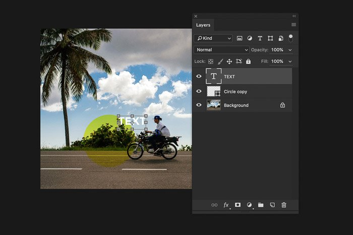 A screenshot of using the Photoshop layers panel - resize text