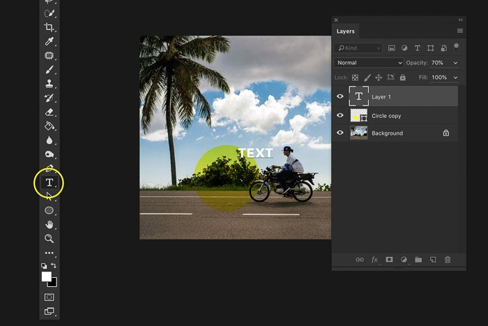 A screenshot of using the Photoshop layers panel - text layer