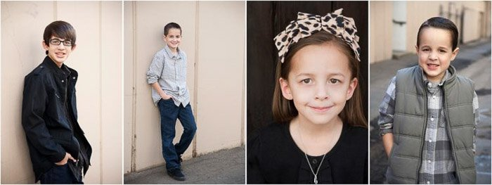Sweet family portrait grid of parents, a young boy and girl posing outdoors - how to photograph people