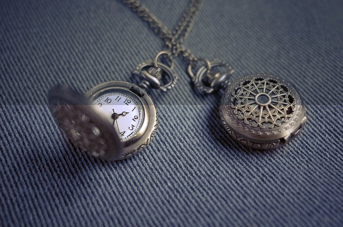 A close up product photography shot of a pocket watch after editing in Photoshop
