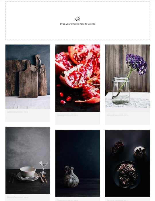 A still life photography mood board for a client photo shoot