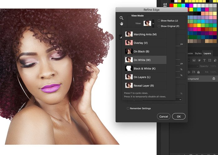 A screenshot showing how to refine edges in Photoshop on a portrait of a female model
