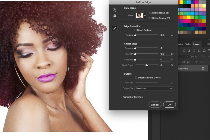 A screenshot showing how to use the refine edge tool in Photoshop on a portrait of a female model