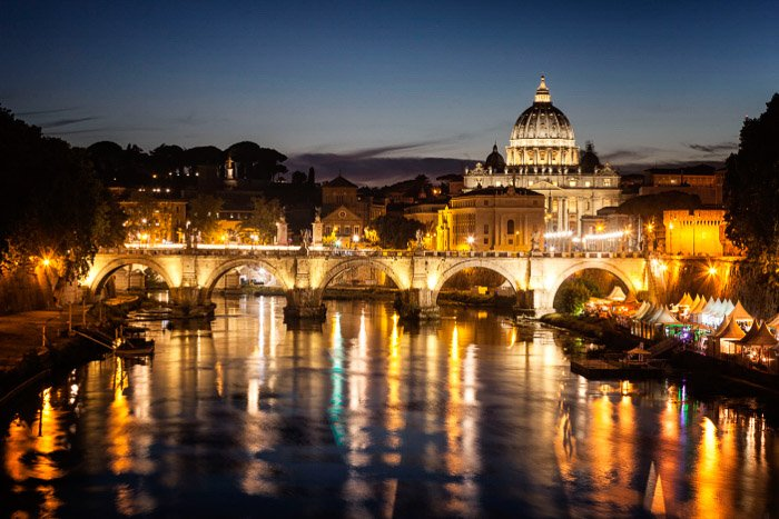 The view toward St Peter's Basilica from the river Tiber in rome
