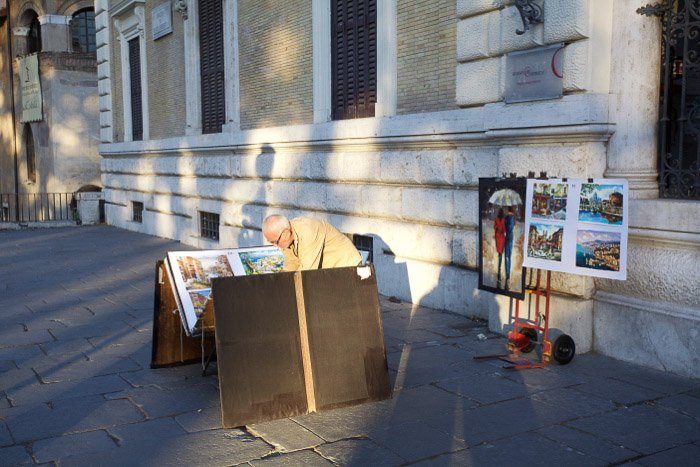 A street artist in Piazza Navona. Rome photography