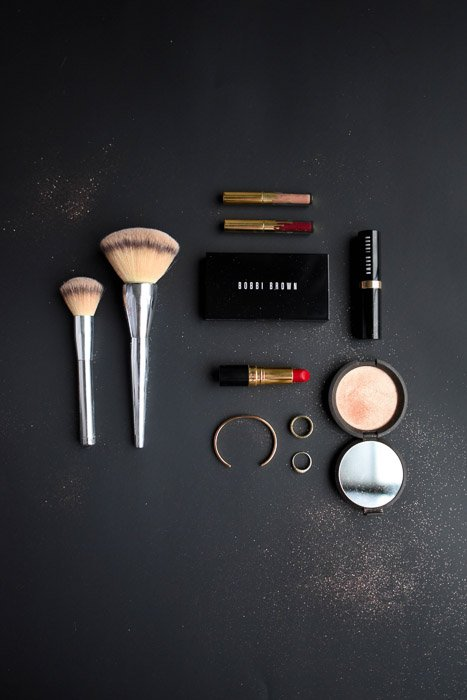 A product flat lay on black background