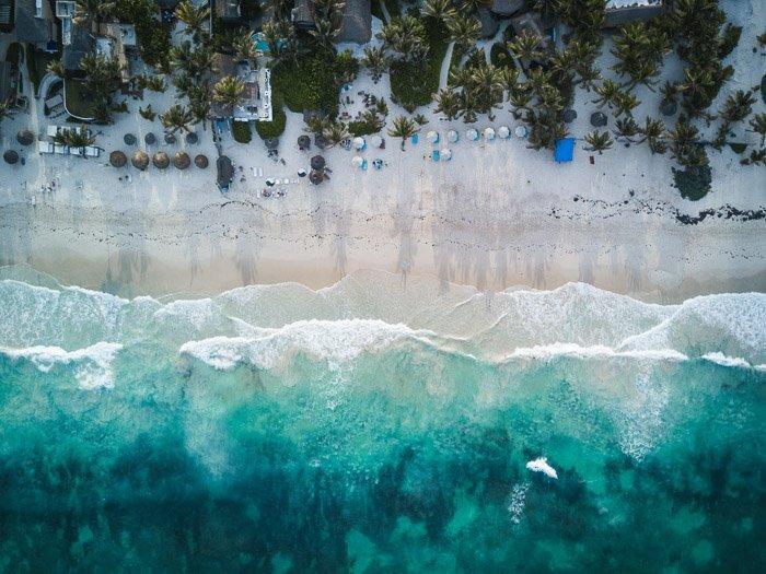 A stunning aerial shot of a beach