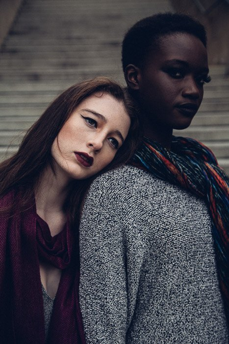 A portarit of two female models posing