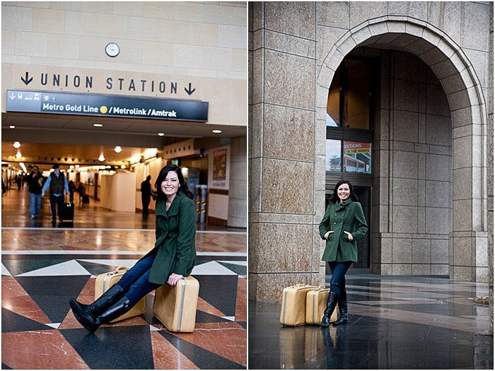 A natural portrait diptych of a female posing indoors