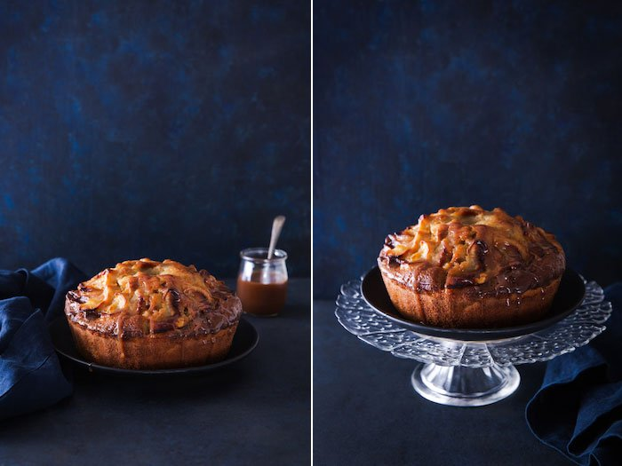 Rustic style cake photo diptych