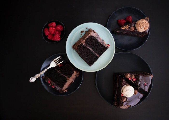 Flat lay photo of a delicious chocolate cake