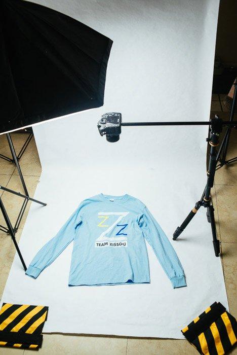 Studio set up for clothing photography
