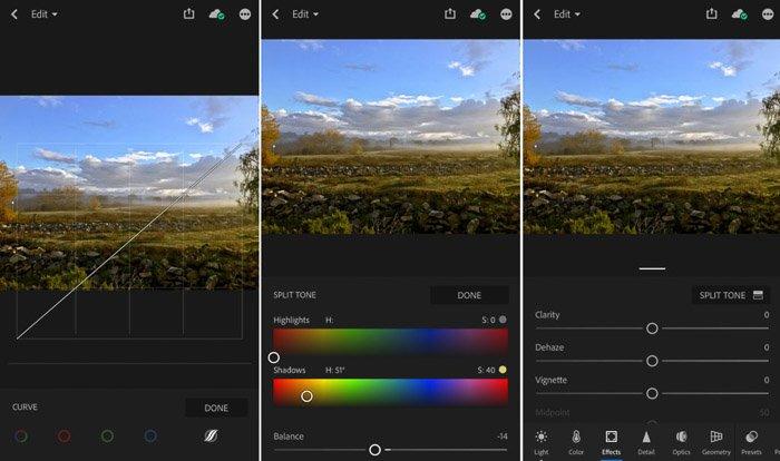 A screenshot of tools on Lightroom Mobile app.