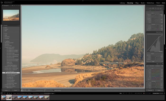 Lightroom Classic workspace with presets in left column and setting adjustments in right column.