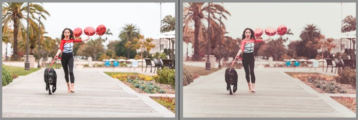 Left is a moderate edit with basic adjustments. Right is very stylized and will not apply to many types of photos. Edit Instagram photos in Lightroom