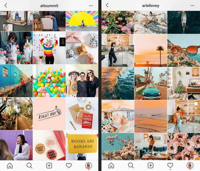 Two distinct IG feeds, each with strong branding. - how to edit instagram photos in Lightroom