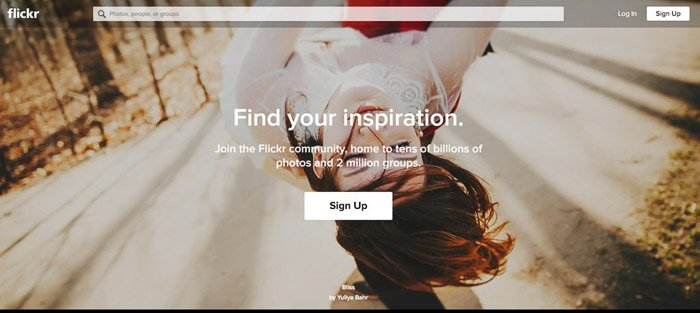 A screenshot of Flickr homepage