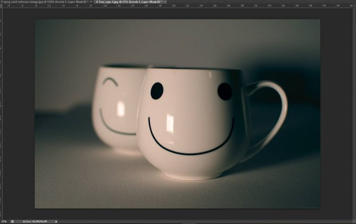 A screenshot showing how to do color correction in Photoshop with a grey card - resulting image