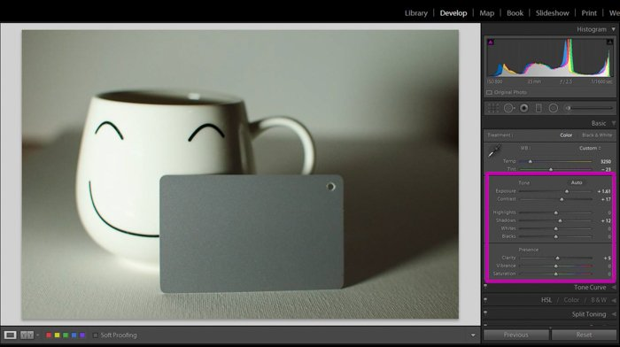 A screenshot showing how to use a grey card for color correction in Lightroom