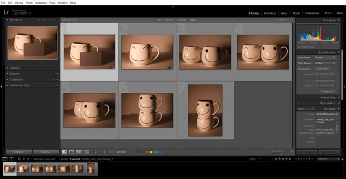 A screenshot showing how to use a grey card for color correction in Lightroom - import photos