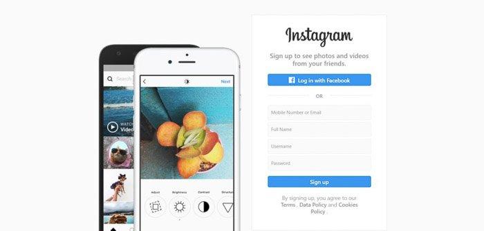 A screenshot of Instagram homepage