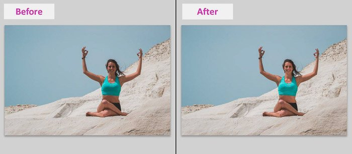屏幕截图,显示如何用Lightroom基本工具删除当地阴影 - 在海滩上的一位女模特的照片之前和之后