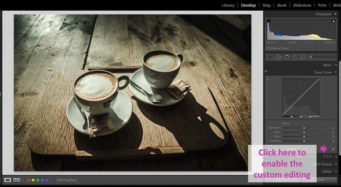 一个Lightroom屏幕截图,展示了如何使黑色蒙版,使图像看起来褪色-自定义编辑