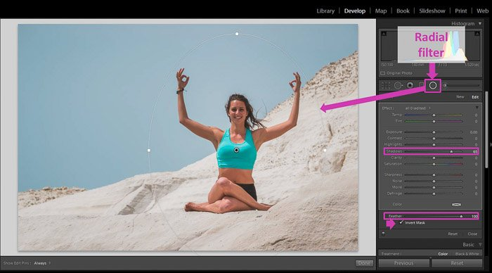 显示如何使用Lightroom基本工具移除局部阴影的屏幕截图