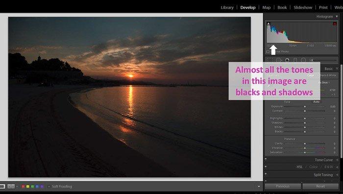 在Lightroom的阴影和黑色工作的屏幕截图