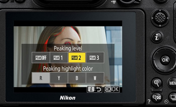 A close up view of changing settings on Nikon Z7 Mirrorless
