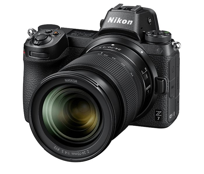 Flatlay product photo of the Nikon Z7 Mirrorless camera and accessories
