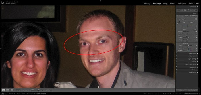 A screenshot showing how to fix red eye in portrait photography using lightroom - red eye removal