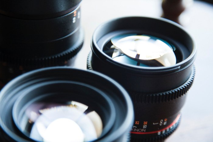 A close up of different camera lenses
