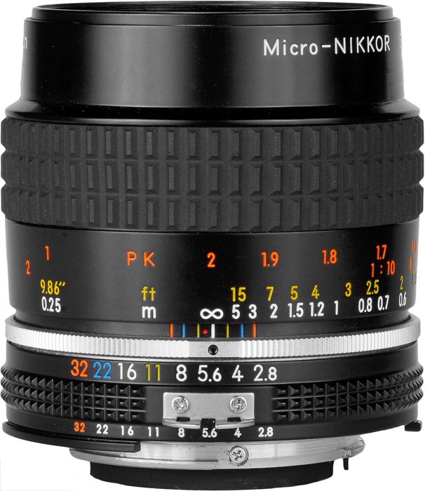 A Micro-Nikkor camera lens
