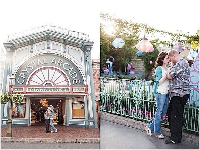 A romantic diptych portrait of a couple embracing at disneyland