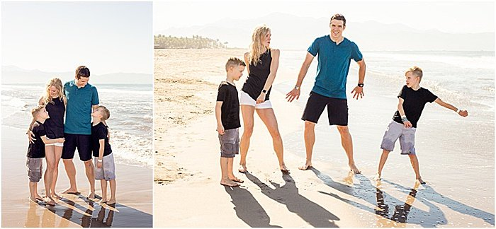 A fun and casual family porttrait diptych of a family of four posing on the beach - emotional photography