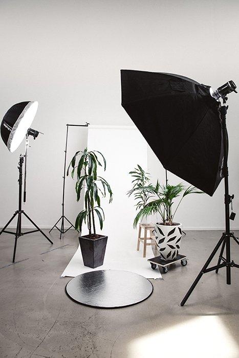 Indoor photography studio lighting setup