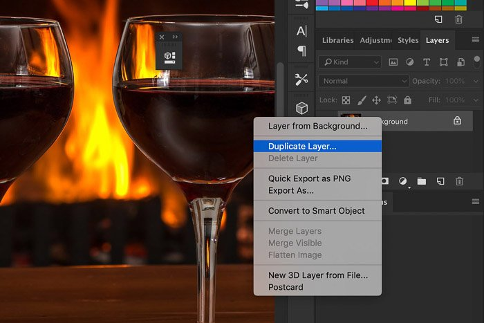 A screenshot of how to duplicate a layer in Photoshop