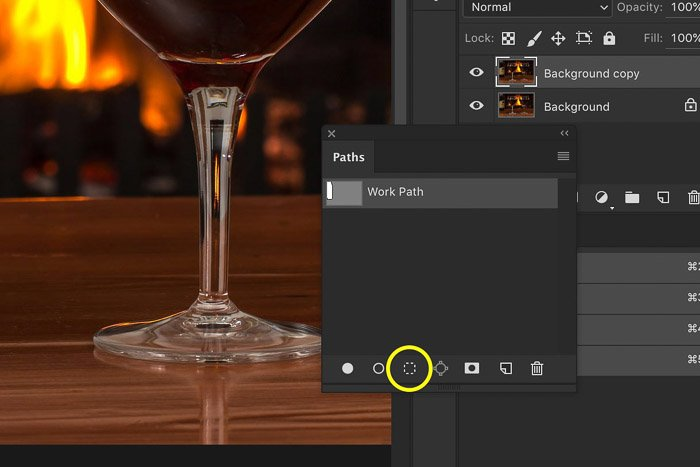 A screenshot showing how to convert a Path to a Selection in photoshop