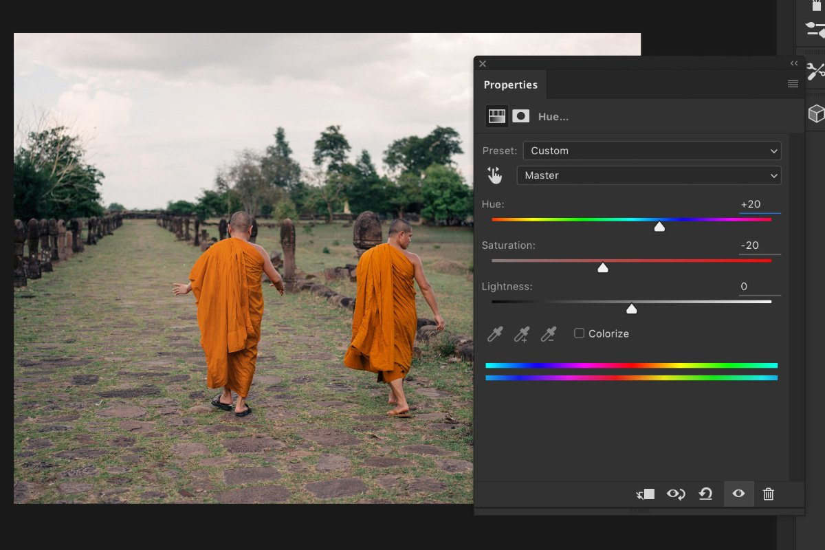 A screenshot showing how to change color in photoshop - adjust colors