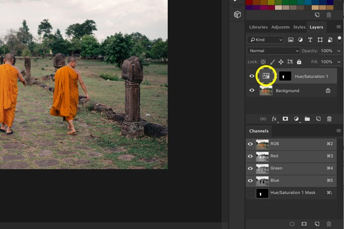 A screenshot showing how to use blending modes to change color in Photoshop