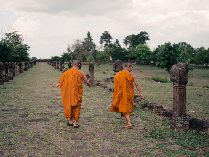A photo of two orange robed monks walking in a field