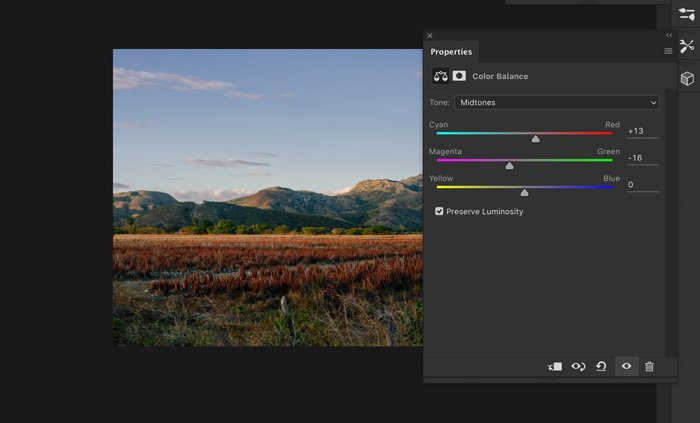 A screenshot showing how to change color of photo in Photoshop - color balance