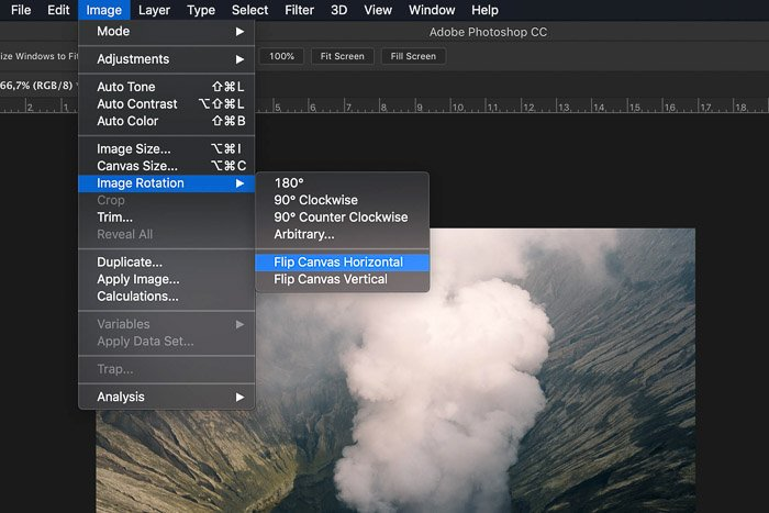 A screenshot showing how to flip the image horizontally in Photoshop