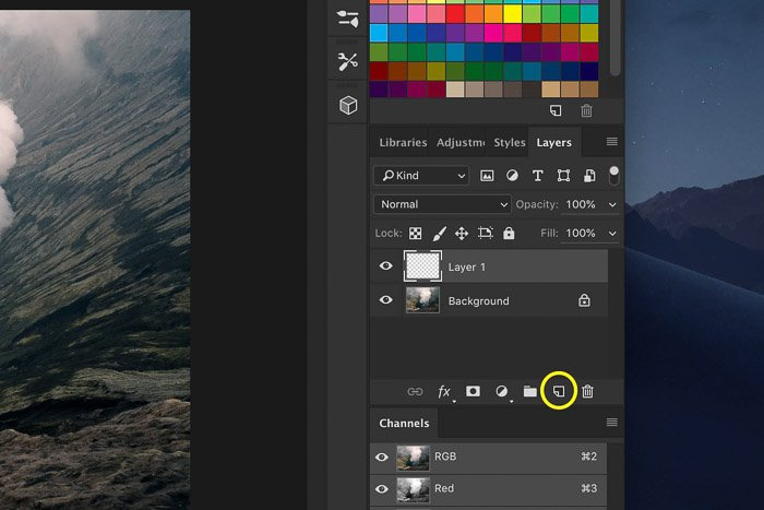 a screenshot showing how to add a new layer in Photoshop
